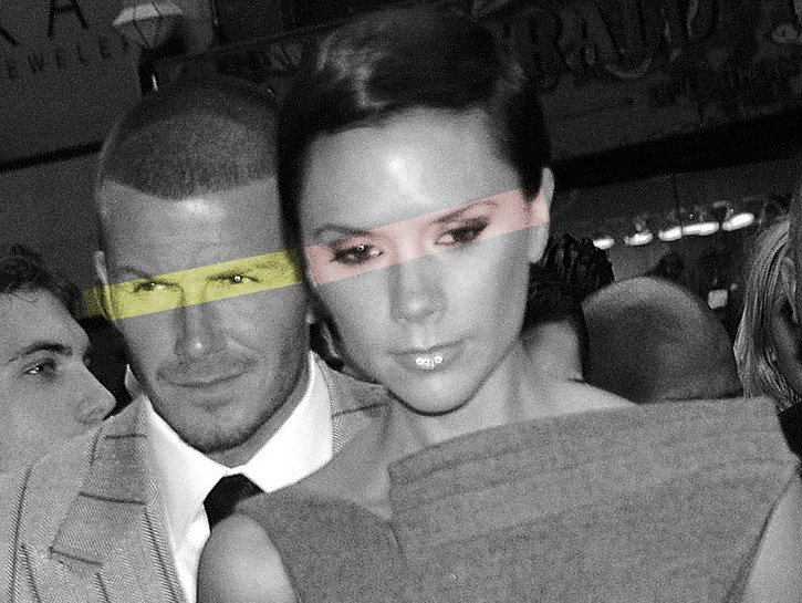 Stylized photo of David and Victoria Beckham dressed in a suit and dress, respectively, at an in-store appearance